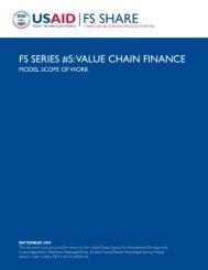 Value Chain Finance - Economic Growth - usaid