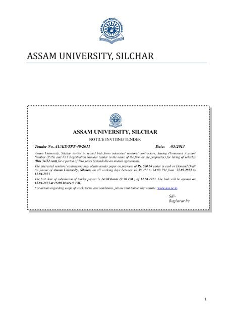 Notice Inviting Tender for the Hiring of Vehicles - Assam