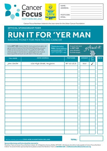 sponsorship form - Cancer Focus Northern Ireland