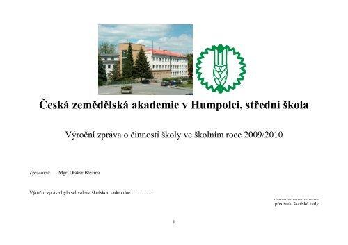 Česká zemědělská akademie v Humpolci, střední škola