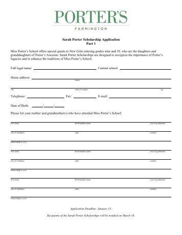 Sarah Porter Scholarship Application Part 1 - Miss Porter's School