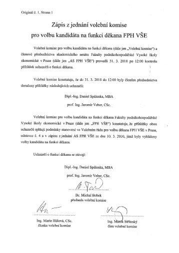 Zápis z jednání volební komise