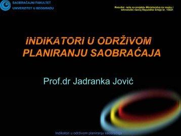 1. indikatori u planiranju saobraćaja - Univerzitet u Beogradu