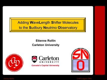 Adding WaveLength Shifter Molecules to the Sudbury ... - Zeus