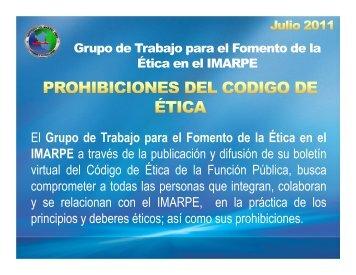 PROHIBICIONES DEL CODIGO DE ETICA - Imarpe