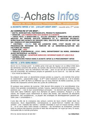 e-ACHATS INFOS n°10 – JUILLET-AOUT 2007 - nouvelle série, 5 ...