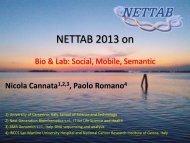 NETTAB 2013 on - NETTAB Workshops