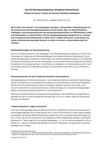 Top 50 Montageanlagenbau-Rangliste Deutschland - Xpertgate ...