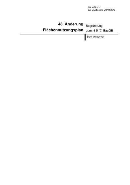 48. Änderung Flächennutzungsplan - Stadt Wuppertal