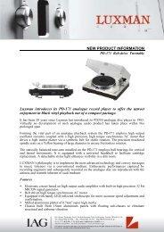 April 2011 - LN PD-171 Announcement - XFAudio