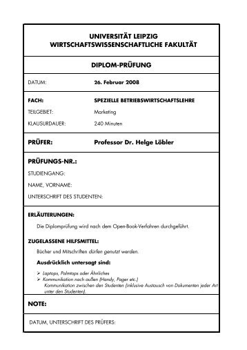 DIPLOMKLAUSUR ABWL - Teil Marketing II – - Universität Leipzig