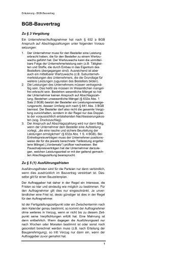 Kurzfassung Bauvertrag Bgb Selfmeister