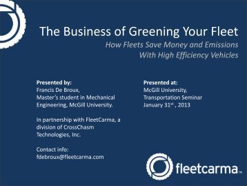 The Business of Greening Your Fleet - Transportation Research At ...