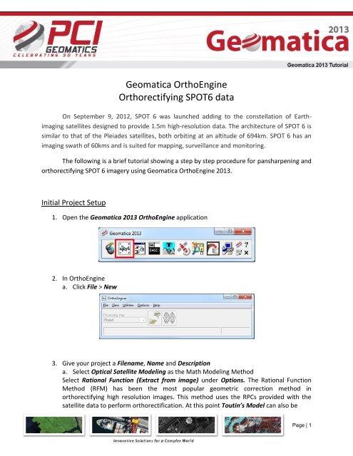 SPOT6 Pansharpening and Orthorectification - PCI Geomatics