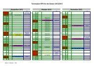 Terminplan KFK für die Saison 2012/2013 September 2012 Oktober ...