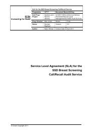 Service Level Agreement (SLA) - NHS Connecting for Health