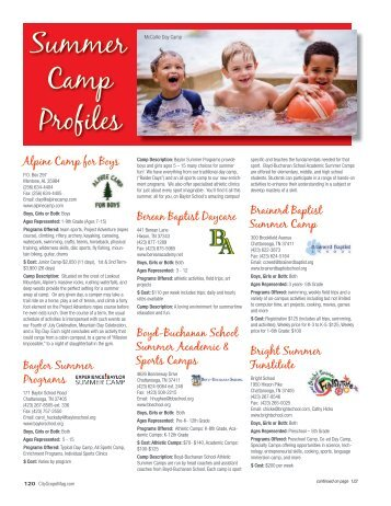 Summer Camp Profiles - Chattanooga CityScope - The City Magazine