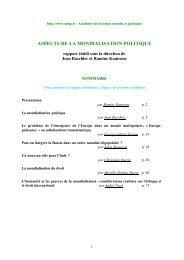 aspects de la mondialisation politique - Académie des sciences ...