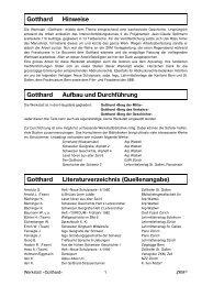 Gotthard Hinweise Gotthard Aufbau und Durchführung Gotthard ...