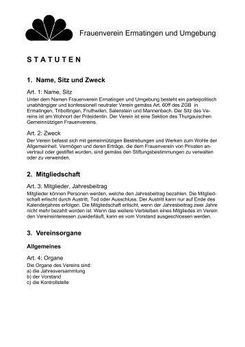 Statuten - TGF Gemeinnütziger Frauenverein Kanton Thurgau