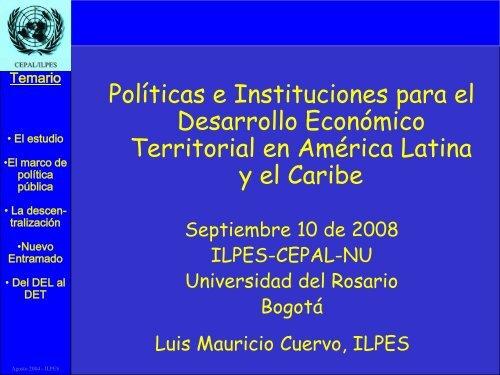Políticas e Instituciones para el Desarrollo Económico Territorial en ...
