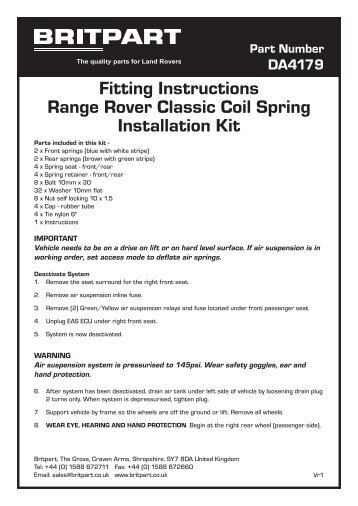 Fitting Instructions Range Rover Classic Coil Spring Installation Kit