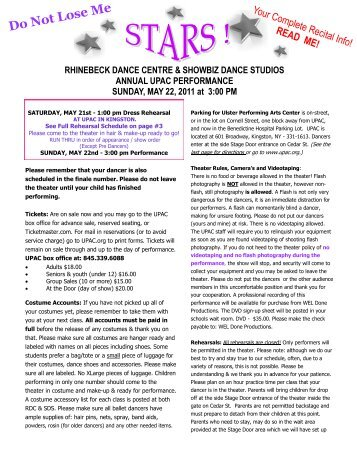 Do Not Lose Me - Rhinebeck Dance Centre