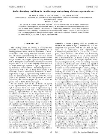 Surface boundary conditions for the Ginzburg-Landau theory of d ...