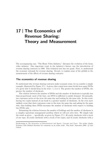 17 The Economics of Revenue Sharing: Theory and ... - Luiscabral.net