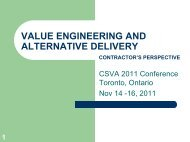 Value Engineering and Alternate Delivery ... - SCAV - CSVA