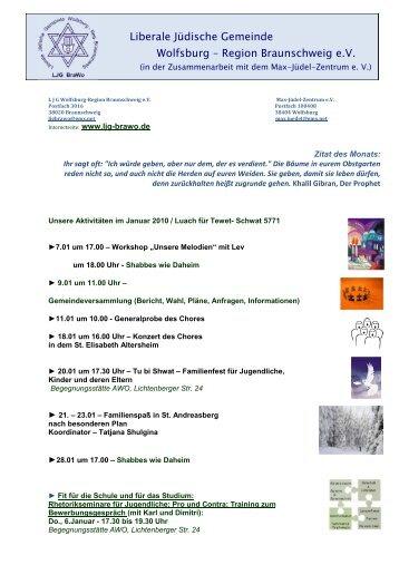 Plan für Januar 2011 - Liberale Jüdische Gemeinde Wolfsburg ...