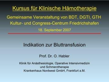 Indikation zur Transfusion bei massivem Blutverlust und ...