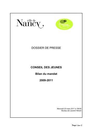 Conseil des jeunes : bilan du mandat 2009/2011 - Ville de Nancy