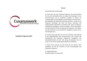 Geistliches Programm I2014 - Cusanuswerk