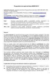 Proposition de sujet de thèse MESR 2011