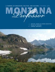 Spring 2013 print edition - The Montana Professor academic journal