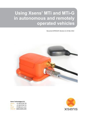 MTi and MTi-G in autonomous and remotely operated vehicles - Xsens
