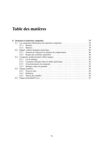Table des matières - Mécanique Matériaux Structure