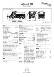 Unimog U 500 Technical Data - Mercedes-Benz UK