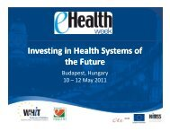 Investing in Health Systems of the Future - eHealth Week