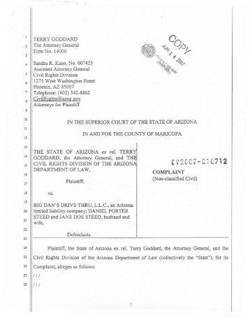 Complaint - Arizona Attorney General