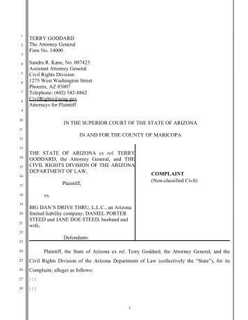 Big Dan's Drive Thru Complaint - Arizona Attorney General