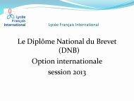Présentation DNB 2013 - option internationale - Lycée français ...