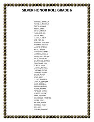 SILVER HONOR ROLL GRADE 6 - Is34.org