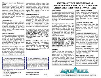 installation, operating & maintenance instructions for aqua-rex wk1 ...