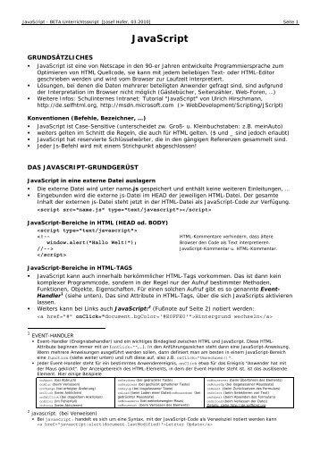 Skriptum JavaScript [PDF | 148KB]