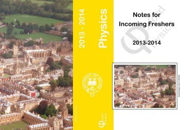 Notes for Incoming Freshers - University of Oxford