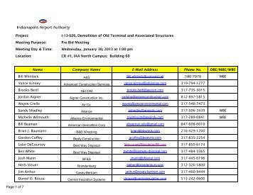 1.31.13 Pre-Bid Meeting Sign In Sheet.pdf - Indianapolis ...