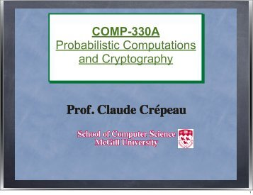 Prof. Claude Crépeau - McGill University