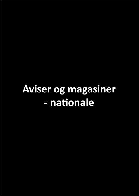 Aviser og magasiner - nationale - Kulturhavn